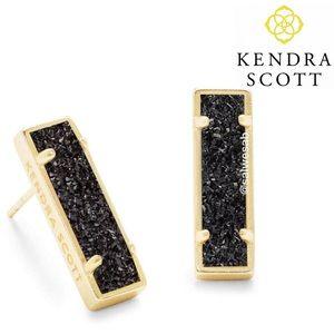 NWT kendra scott Lady Druzy Black Gold Earrings